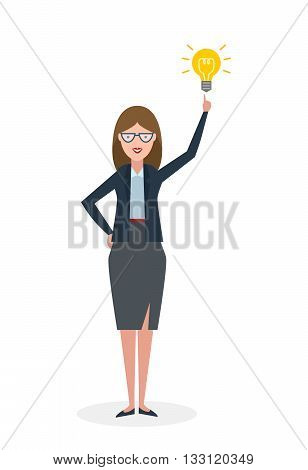 Businesswoman with idea bulb white background. Isolated character. Businesswoman pointing at idea bulb. Concept of successful job.