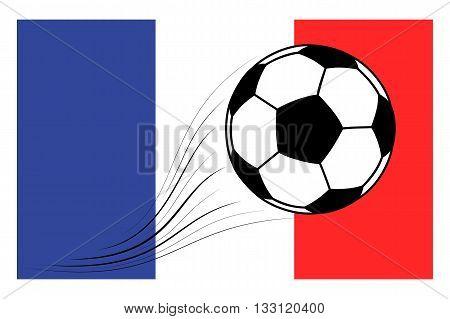 soccer football ball on French flag background. Vector illustration.