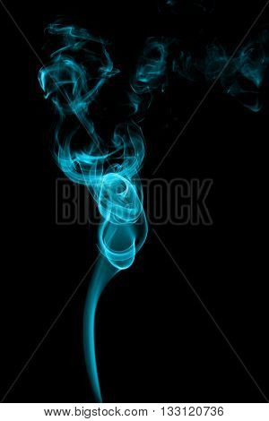 Abstract Cyan Smoke On Black Background