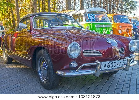 MOSCOW RUSSIA - OCTOBER 12 2013: Car Volkswagen Karmann-Ghia Typ 14 at the open-air retro and vintage cars exhibition at the Lenin Hills. The exhibition is organized by informal group of retro cars fans.