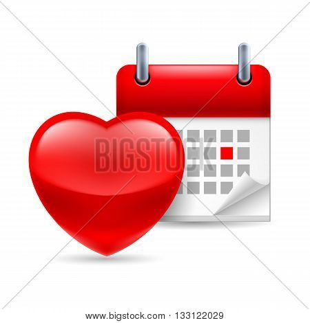 Red heart and calendar with marked day. Valentines Day or dating