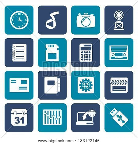 Flat Phone Performance, Internet and Office Icons - Vector Icon Set