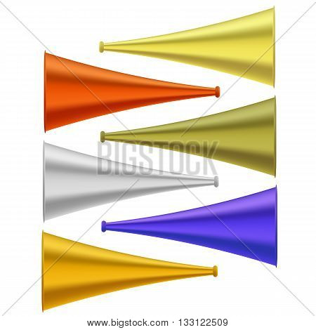Set of Colorful Horns Isolated on White Background