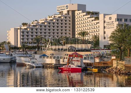 Eilat, Israel - may 09, 2015: View hotel pier at sunset in the resort town of Eilat , southern Israel
