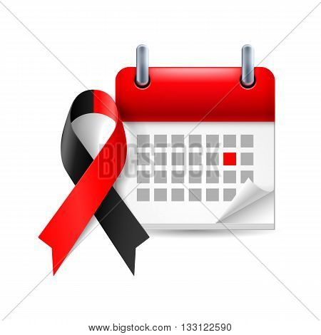 Red and black awareness ribbon and calendar with marked day. atheist solidarity symbol
