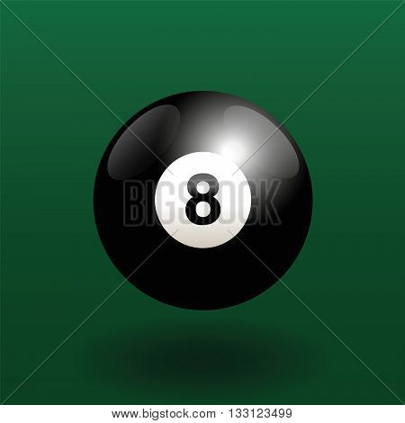 Black billiard ball number eight. Three-dimensional vector illustration on green gradient background.