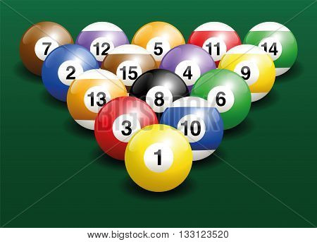Billiard balls start position. Three-dimensional vector illustration on green gradient background.