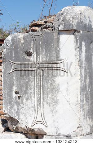 Architectural detail from Goreme church in Cappadocia Turkey