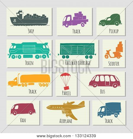 Types of transport delivery delivery ways and logistics in business and industry with scooter bus trucks airplane railway seaway cargo ship and other.