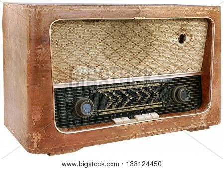 Old Obsolete Wooden Radio Cutout