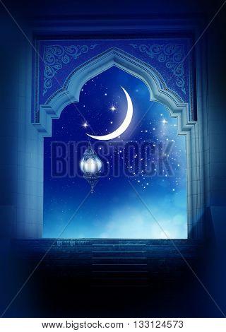 Ramadan Kareem background..Mosque window with shiny crescent moon