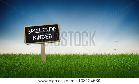 German language children playing text in white chalk on blackboard sign in tall green turf grass under clear blue sky background. 3d Rendering.