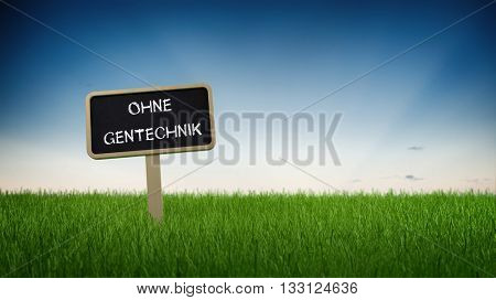 German language non-GMO genetic technology text in white chalk on blackboard sign in flowing green grass under clear blue sky background. 3d Rendering.