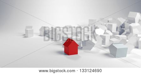Individuality and diversity concept with a single red model house standing in the foreground of a large pile of white houses in a panoramic banner. 3d Rendering.