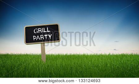 Rectangular black chalkboard sign in tall green turf grass with grill party text in German and clear blue sky background. 3d Rendering.