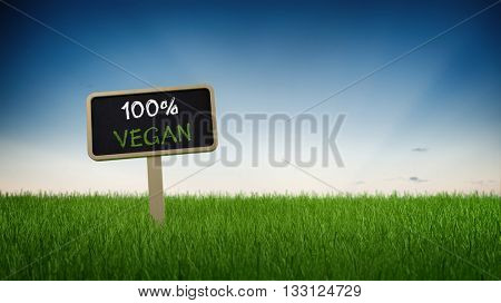 Low level perspective on one hundred percent vegan sign stuck in turf grass with clear blue sky background. 3d Rendering.
