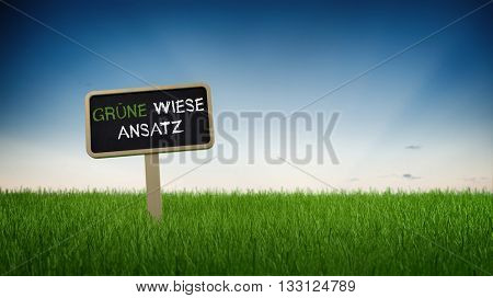 Rectangular black chalkboard sign in tall green turf grass with green meadow approach text in German and clear blue sky background. 3d Rendering.