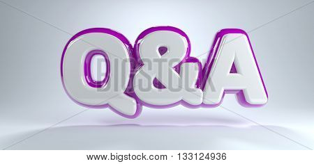 Digitally Generated Graphic of Q and A Text in White with Purple Outline Floated Above White Background with Copy Space - Question and Answer Concept Image. 3d Rendering.