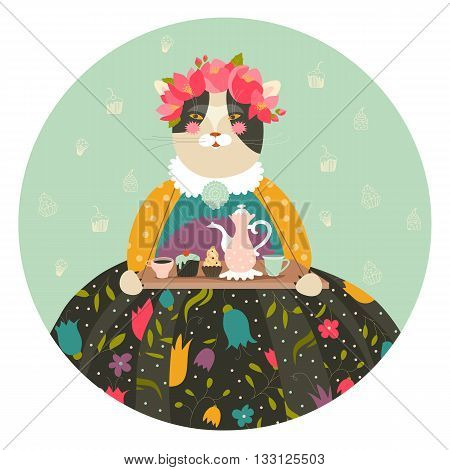 Cute cat with teapot and cupcakes wearing dress. Vector illustration