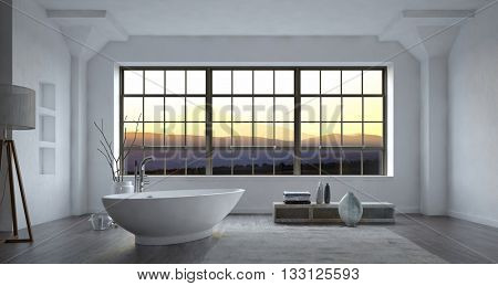 Large spacious modern minimalist monochrome white bathroom interior with freestanding bost-shaped bathtub and large view window at sunset, 3d rendering.