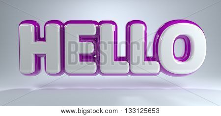 The word hello in purple and white glossy capital letters floating above gray background. 3d Rendering.