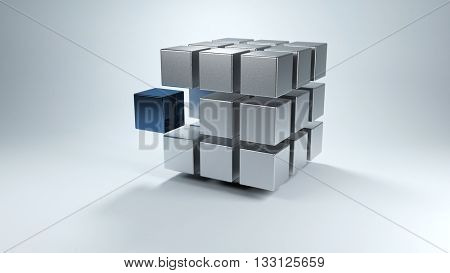Floating 3D cube with sections in gray and one in blue that moves away from the whole. 3d Rendering.