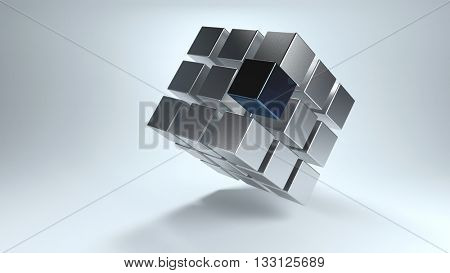 Tilted 3D cube with displaced sections in gray and darker one that moves away from the whole. 3d Rendering.