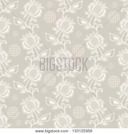 Seamless beige and white floral vector background. Seamless floral wrapping paper template or seamless website background.