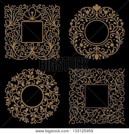 Yellow floral frames with copy space vector template on black background.