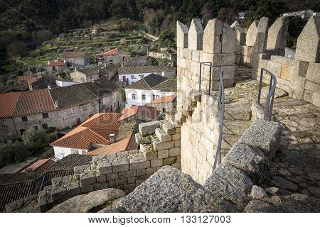 Castelo Novo town and the ruins of the old castle, Fundão, Portugal