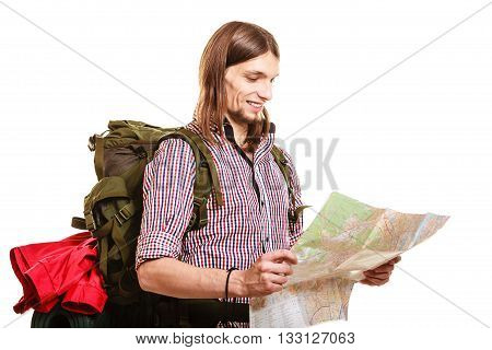 Man Tourist Backpacker Reading Map. Summer Travel.