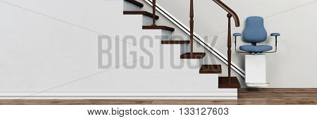 Elderly living apartment with stairlift on stairs (3D Rendering)