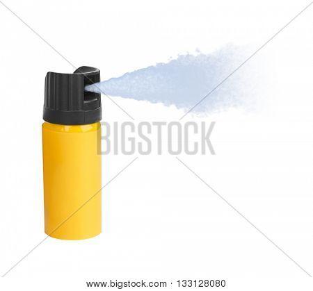 Bottle of pepper spray isolated on white background