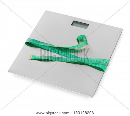 Measuring tape and weight scale isolated on white background
