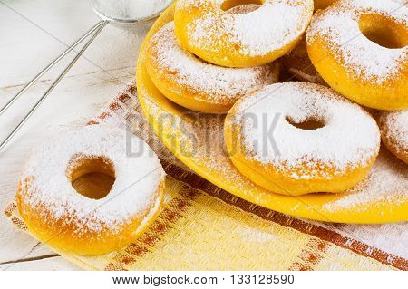 Homemade sweet donuts. Doughnuts. Sweet pastry. Donuts. Sweet dessert.
