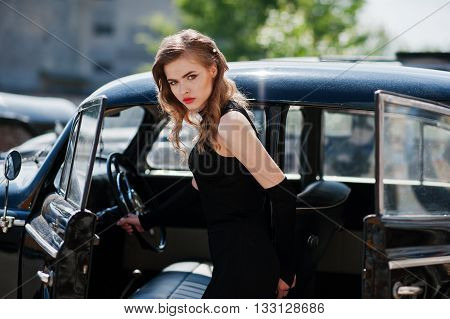 Portrait Of Beautiful Sexy Fashion Girl Model With Bright Makeup In Retro Style Near Vintage Car