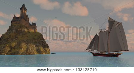 Lake Schooner and Castle - A lake schooner sails to an island that has a castle on top of a steep cliff on a beautiful day.
