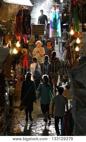 JERUSALEM OLD CITY MARKET, ISRAEL, 3 APRIL 2013. Editorial Photograph of Traditional Shopping in the Old City Market, popular with Tourists and Locals alike