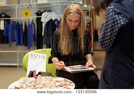 ST. PETERSBURG, RUSSIA - MAY 20, 2016: Cover Girl zone during the Summer. Style. Festival. The event is dedicated to the 20th anniversary of the Harper's Bazaar magazine in Russia