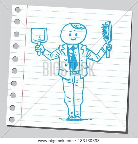 Businessman with dustpan and brush
