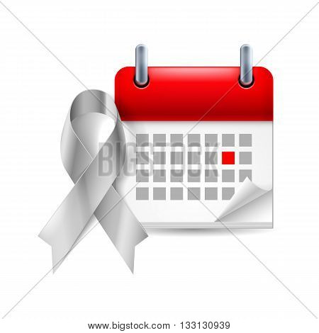 Silver awareness ribbon and calendar with marked day. Symbol of Parkinson Disease ovarian cancer brain disorders and disabilities