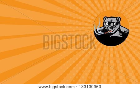 Business card showing illustration of a black bear wearing sunglasses smoking cigar viewed from front set inside circle done in retro woodcut style.
