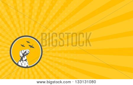 Business card showing illustration of an english pointer dog looking up at flying geese set inside circle done in retro style.
