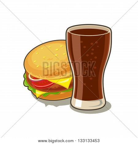 Glass of cola and Hamburger with meat lettuce cheese tomato. Isolated on white background with shadow. Vector flat illustration for poster menus web banner icon