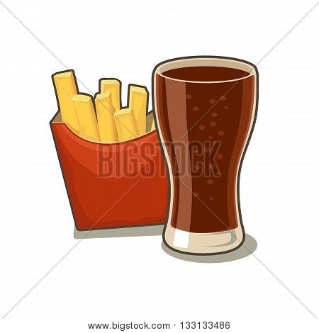 Glass of cola and french fries potato in red paper box. Isolated on white background with shadow. Vector flat illustration for poster menus web banner icon