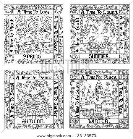 Adult Coloring Book Poster Black and White Vector Illustration Four Seasons Spring Summer Autumn Fall Winter