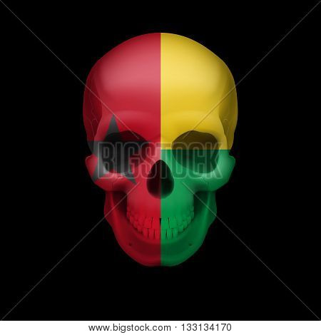 Human skull with flag of Guinea. Threat to national security war or dying out