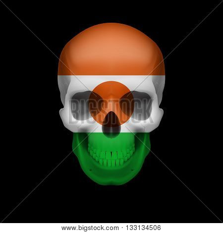 Human skull with flag of Niger. Threat to national security war or dying out