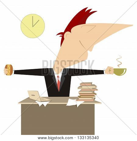 Coffee time. Businessman or a manager has a cup of coffee and sandwich