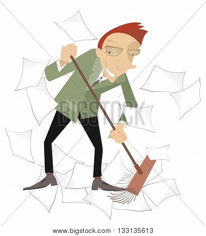 Tidying up. Businessman sweeps papers from the office